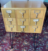 Vintage Mcm Gaylord Library Card Catalog Cabinet Maple Wood Hair Pin Legs