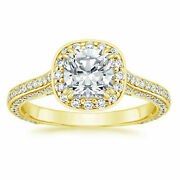 1.35 Ct Round Moissanite Wedding Ring For Ladies Solid 14k Yellow Gold Size 6 8