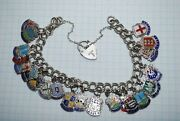 Rare Vintage Charm Chain Bracelet Jewelry Sterling Silver Stamp England 40.58 Gr