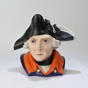 Antique Bisque Tobacco Humidor Depicting Frederick The Great Bust - King Pt
