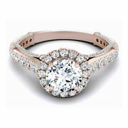 Round 1.30 Ct Real Diamond Women Wedding Rings Solid 14k Rose Gold Size 6 7.5 8