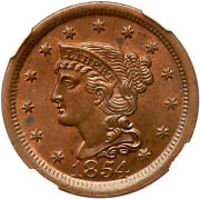 1854 N-17 Ngc Ms 63+ Rb Tcc5 Cc2 Of Lds Braided Hair Large Cent Coin 1c