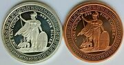 Collection Of 1 Oz Silver And 1 Oz Copper Round- Tribute To British Trade Dollar.