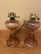 Set 2 Vintage Findlay Queen Of Hearts Pink Depression Glass Electric Oil Lamp