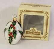 Impuls Mouth Blown Hand Painted Glass Christmas Ornament Poland Glitter Holly