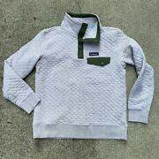 Womens Small Organic Cotton Quilted Snap-t Pullover Sage Olive Khaki