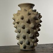 Mexican Hand Built Wood Fired Brutalist Clay Vase
