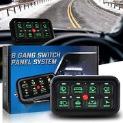 8 Gang Switch Panel W/ Wiring Harness And Label Stickers For Car Marine Boat Truck