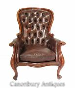 Victorian Balloon Back Arm Chair - Leather Seat Deep Button 1880