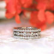 Excellent 1.50 Ct Natural Diamond Wedding Band For Women 14k White Gold Size 7 8