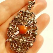Beautiful Large Antique Silver And Natural Red Coral Angel Pendant