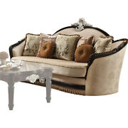 Acme Ernestine Sofa With 7 Pillows In Tan Fabric And Black Finish 52110