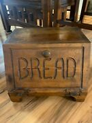 Vintage Wooden Bread Box Med Dark Wood, Hand Crafted Heavy Best Offers Welcome