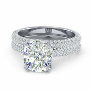 Solid 18k White Gold 1.40 Ct Real Cushion Diamond Engagement Ring Set Size 7 8 9