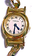Vintage Ladies 18k Yellow Gold Back Winding Watch On Cord Strap