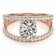 0.90 Ct Natural Diamond Engagement Rings For Ladies Solid 14k Rose Gold Size 7 8
