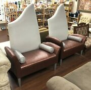 Vintage Pair Of Retro Funky Large Oversize Designer Accent Throne Sofa Chairs