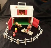 Vintage Fisher Price Little People Farm Barn 915 Moo Hen Sheep Cow Horse Used
