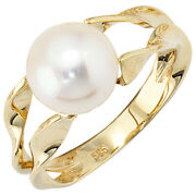 Womenand039s Ring 585 Yellow Gold 1 Fresh Water Pearl Gold Ring
