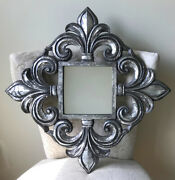24 X 24 Large Ornate Distressed Antiqued Silver Frame Finials Wall Mirror