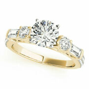 Unique 1.67 Ct Real Diamond Bridal Wedding Rings Solid 14k Yellow Gold Size 7 8