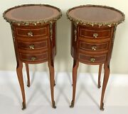 Mid 20th Century Louis Xv Marquetry Side Table Pair W/ Brass Ormolu