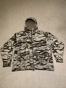 Columbia Monarch Pass Wool Blend Snow Camo Hooded Jacket Large