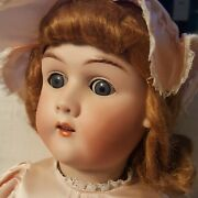 """Antique 22"""" Max Handwerck German Bisque Doll Compo And Wood Body Beautiful Nice"""