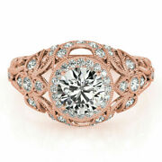 Genuine 0.90 Ct Round Cut Diamond Engagement Ring Solid 14k Rose Gold Size 5 6 8