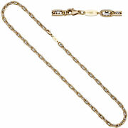Necklace Chain 585 Yellow Gold White Bicolour 19 11/16in Carabiner