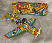 Daito Space Ace Tin Wind-up Airplane Toy 1960s Japan Litho Robot Vintage Uchu
