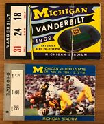 1969 Bo Schembechler Michigan Coaching Debut And First Win Ticket Stub + Last Win