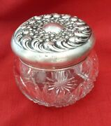 Large Vintage Repousse Cut Crystal Powder Jar With 925 Fine Sterling Silver Lid