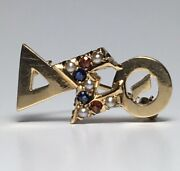 Vintg. Delta Sigma Theta Sorority 14k Yellow Gold Jewels And Seed Pearl Member Pin