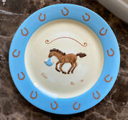 Montana Silversmith Lifestyles Birth Announcement Plate Western Baby Blue Horse