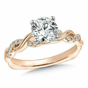 14k Rose Gold 0.98 Ct Real Round Natural Diamond Christmas Ring Size 6 7 8