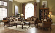 Acme Jardena Sofa With 6 Pillows In Fabric And Cherry Oak Finish 50655