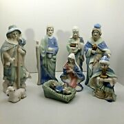 10 Piece Blue Green And White Gold Accents Glossy Porcelain Nativity Scene