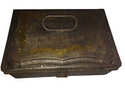 Antique 7 Pc Tin Spice Set 6 Containers + Carry Box W Handle And Latch
