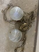 Vintage Hanging Swag Light Fixture Double Globe Mid Century Chains Dual Glass