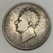 1828 Great Britain 1/2 Crown Silver Coin Km 695 Key Date 50k Mint George Iv 50c