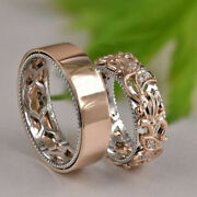 Natural 0.12 Ct Diamond Couple Band Solid 14k Multitone Gold All Size Available