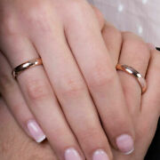 Solid 18k Real Rose Gold Engagement Couple Band For Valentine All Size Available