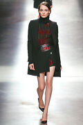 Anthony Vaccarello Black Cashmere Red Crystal Sweater Dress Xs S