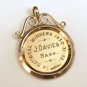 Vintage 1930's Wales/uk 9k 9ct Gold Award Medal Cambrian Colliery Male Choir