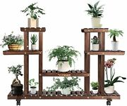 Wood Plant Stand For Indoor Outdoor Plants Tiered Display Shelf For Garden Lawn
