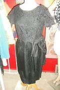 Bette Davis Personally Owned And Worn 1960's Black Short Sleeve Lace Dress W/loa