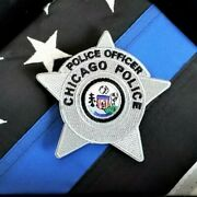 Chicago Police Star Badge Shield - Honor - Thin Blue Line Flag And Case