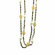 Round Type Coco Mark Long Necklace Gold Vintage Accessory 90133489
