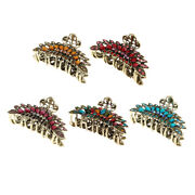 Pack Of 5 Vintage Metal Alloy Rhinestone Large Fancy Hair Claw Jaw Clips Pins